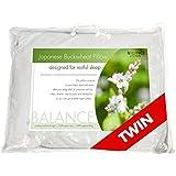 "Balance Living Buckwheat Pillow Twin Size 20""x 26"", 100% Organic Cotton Cover"