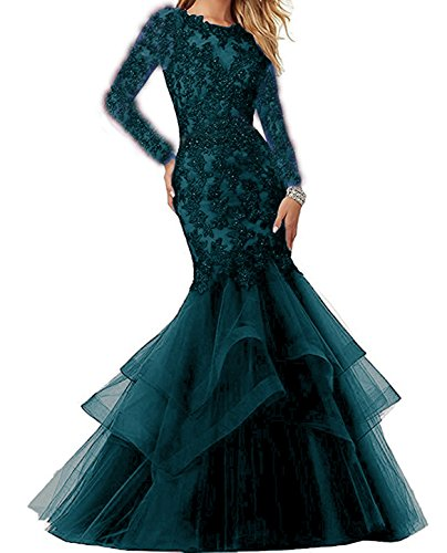 Bonnie Beaded Lace Embroidered Prom Dresses 2018 Long Sexy Mermaid Formal Ball Gown with Long Sleeves BS014 (Beaded Long Dress)