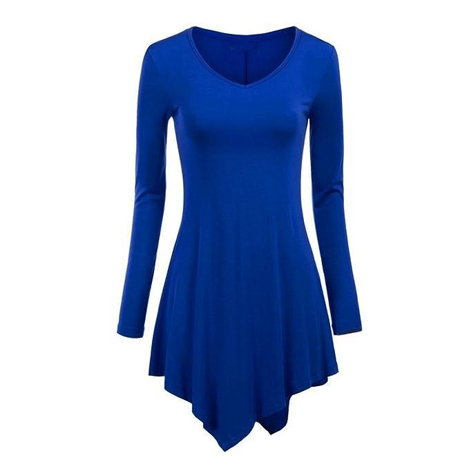 Camiseta Larga Mujer T-shirt Manga Larga Blusa Cuello V Camisas Asimétricas Blusas A-