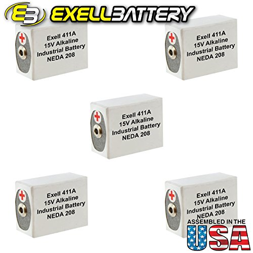 5pc Exell 411A Alkaline 15V Battery Replaces NEDA 208, 10F20, BLR121 by Exell Battery