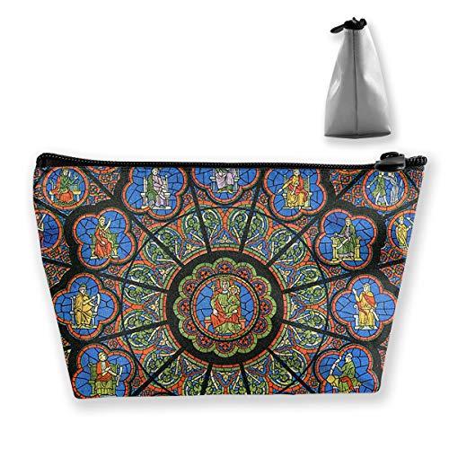Wansanc Storage Bag Notre Dame Cathedral Rose Window Cosmetic Bags Sewing Kit Emergency Preparedness Kit Outdoor Travel First Aid Kit Pack Organizer Bag Travel Makeup Train Case Storage Bag