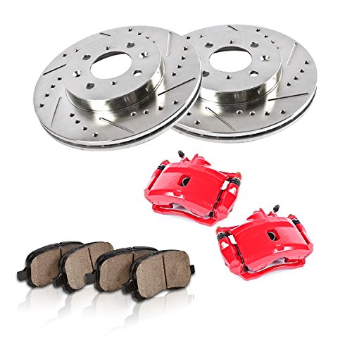 FRONT Powder Coated Red [2] Calipers + [2] Rotors + Quiet Low Dust [4] Ceramic Pads Performance ()