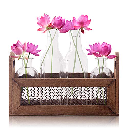 Bud Flower Vases in Wooden Rack with Chicken Wire - 4-Piece Assorted Clear Glass in Basket Home Decor Set for Windowsill Accessory, Decorative Storage, Party or Wedding Centerpiece (Milk Glass Stones)