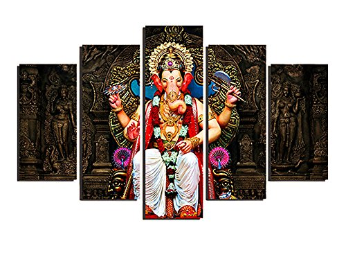 Ganesha Wall Frame (BERDECIA India Four arms Lord Ganesha Eliminate Obstacles Canvas Wall Art Vintage Religious Art Painting Print on Canvas 5 Pieces Modern Wall Art Artwork for Room Decoration(Unframed))