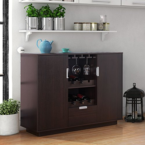 Modern Multi-Storage Dining Buffet with 6 Bottle Wine Rack Holder, Hanging Stemware Glass Rack, Spacious Top for Pouring Drinks or Resting Snacks, Sturdy Long-Lasting Construction, Espresso Finish