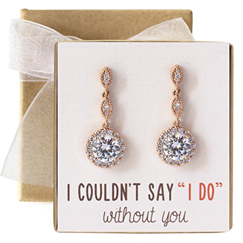 (A+O Bridesmaid Gift, Wedding Drop Dangle Crystal Earrings in Rose Gold )