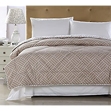 Qbedding Down Alternative All Season Comforter Microfiber Printed Cover (Full/Queen, Brown)