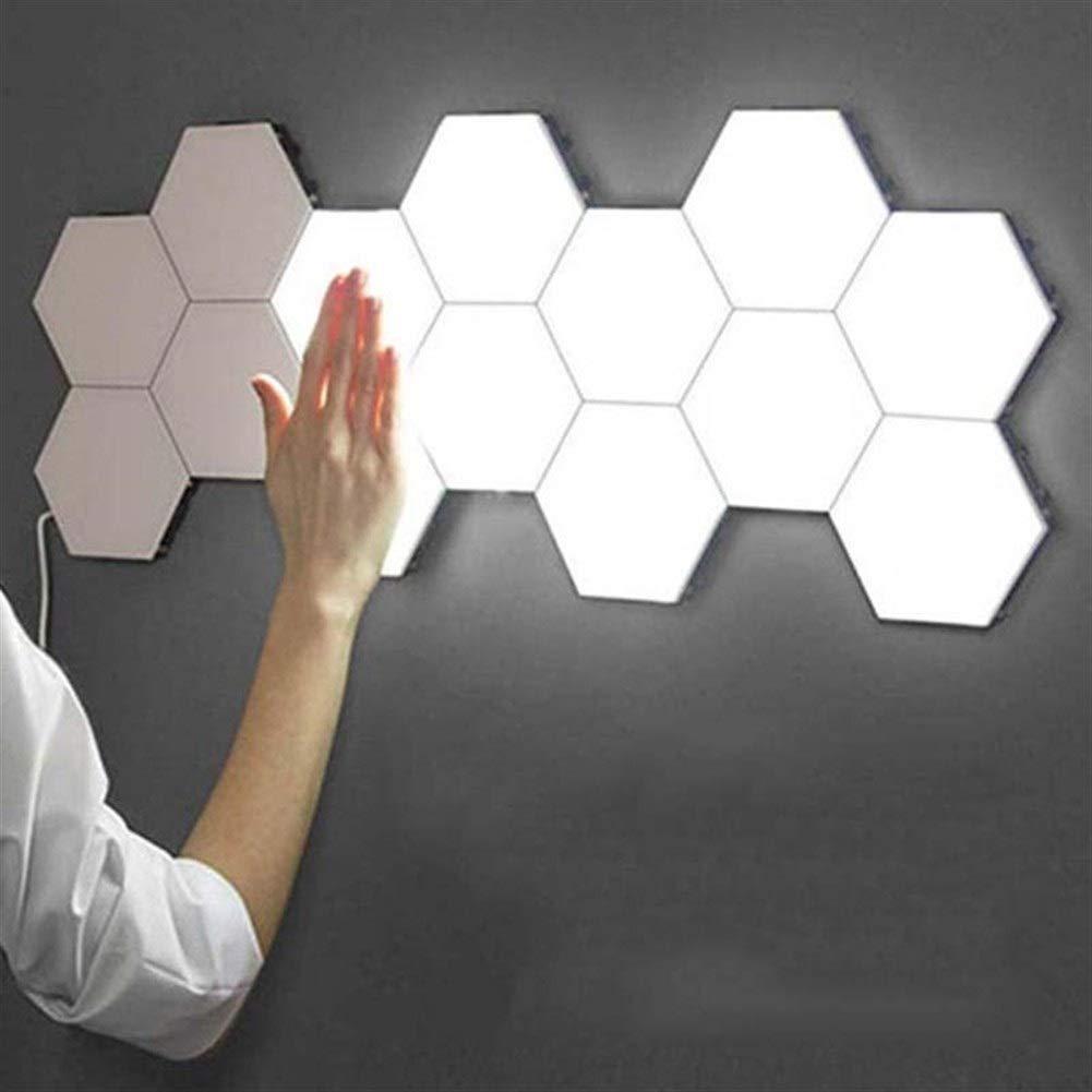CYHY Splicing LED Smart Light, Wall Lamp Hexagonal, Panels A Bright LED For Lighting A Wall For Inside, Modular Touch Sensitive Lights honeycomb Decorative (Size : 5piece)