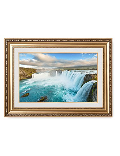DecorArts- Godafoss Icelandic waterfall, Giclee Print w/ Golden Frame for Wall Decor. Framed Size: 36x30