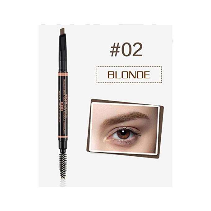 2 PC-PACK OF 2! Waterproof Eyebrow Pencil with Brush Twin Head Rotating Pencil Eyebrow definer (Blonde) for sale
