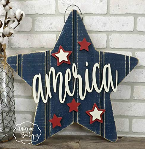 DASON Patriotic Door Hanger America Star Hanging Sign Red White Blue 4th of July Sign Americana Summer Door Sign Front Door Decor Door Sign