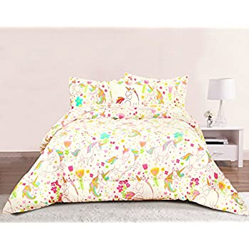 rainbows unicorns girls twin comforter set 6 piece bed in a bag homemade wax. Black Bedroom Furniture Sets. Home Design Ideas
