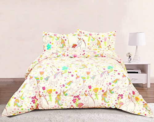 Pastel Set Bed - Unicorn Girls Bedding Full/Queen 4 Piece Comforter Bed Set, Pastel Heart Floral Polka Dot