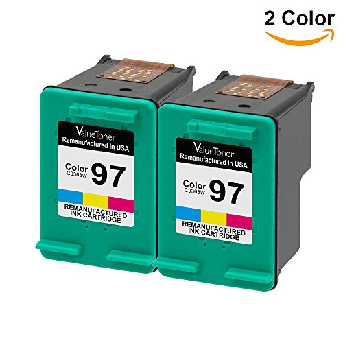 Valuetoner Remanufactured Ink Cartridge Replacement For Hewlett Packard HP 97 C9349FN C9363WN (2 Tri-Color) 2 Pack