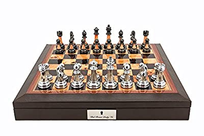 """L2011DR Dal Rossi Italy 16"""" Chess Set Walnut Finish Chess Set with PU Leather Edge with compartments and Metal / Marble Finish Chess Pieces"""