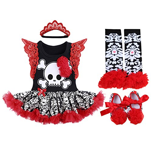 Baby Girls 1st Halloween Outfit My First Christmas Birthday Fancy Party Romper Dress Lace Flutter Sleeve Bodysuit Headband Leg Warmers Shoes Pumpkin Skull Photo Prop Costume 4Pcs Set Red Black 0-3M