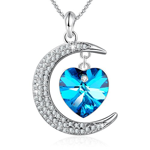 GEORGE · SMITH Moon Goddess Blue Heart Pendant Necklace Jewelry for Wife Mom Grandma with Swarovski (Crystal Moon Necklace)