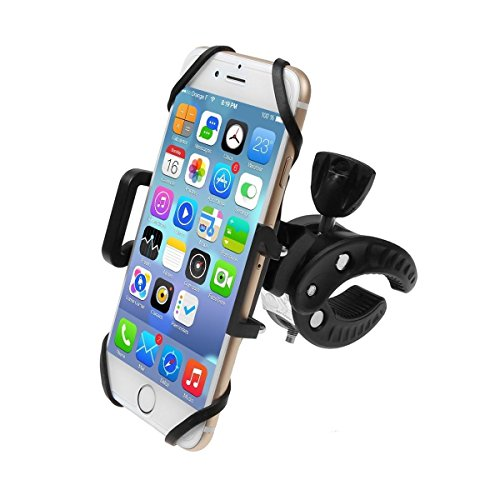 unt, Bicycle Motorcycle Handlebar Cell Phone GPS Holder 360 Degrees Rotatable Cradle with Rubber Strap Clamp, Universal for iPhone/Samsung Galaxy/HTC LG Smartphones ()