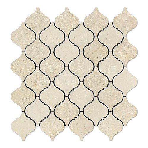 Crema Marfil Spanish Marble Lantern Arabesque Mosaic Tile, Polished