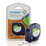 DYMO LT Paper Labels, Black Print on White Labels, 1/2-Inch x 12 Feet, 2 Rolls, for LetraTag label makers