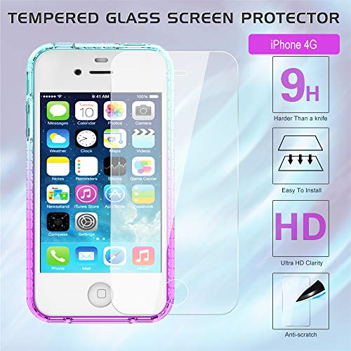 03eca2c701 ... LeYi iPhone 4S Case with Tempered Glass Screen Protector [2 Pack] for Girls  Women ...