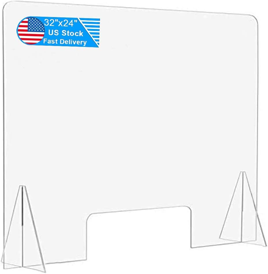 Acrylic Sneeze Guard 32''x24'' Portable Plastic Shield Protective Clear Freestanding Plexiglass Barrier Divider for Counter, Desk, Office, Store,Countertops
