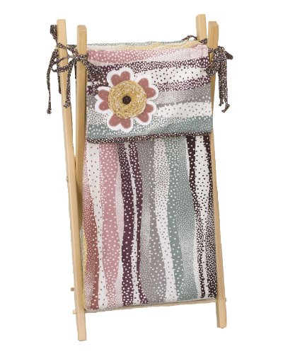 - 100% Cotton Cotton Tale Designs Penny Lane Floral Hamper in Multi Colored Mosaic Polka Dot Stripes with Dot Ties on Natural Sturdy Wooden Hamper Frame- Also Available on White & Black Frame