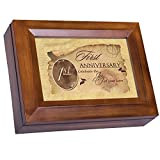 Cottage Garden First Anniversary Celebrate Joy Love Woodgrain Digital Keepsake Music Box Plays Lean On Me
