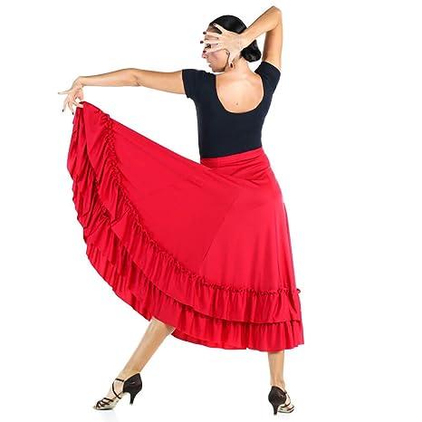 Danzcue Adulto Dos Volantes Falda de Baile Flamenco, Rojo, M ...