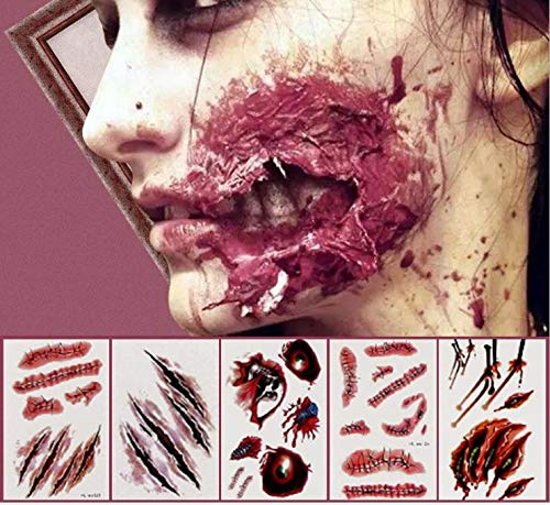 Anear K2523A7 Halloween Scar Tattoos Waterproof Temporary Tattoo Sticker Zombie Makeup Kit for Party Cosplay Costume Look Real Wound Tattoos, As Picture