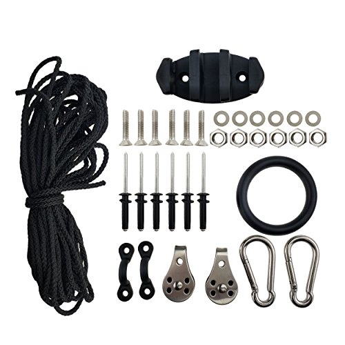 Marine Kayak canoe Anchor Trolley Kit with Rope Cleat Pulley Block Rigging Ring (Type Iv 30' Ring)