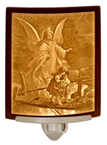 - Angel At the Bridge - Curved Porcelain Lithophane Night Light