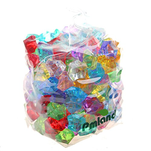 Acrylic Jewels Gems, Bulk 1 Pound per Bag, Approximately 160 Pieces, Assorted Colors by PMLAND (Treasure Plastic)