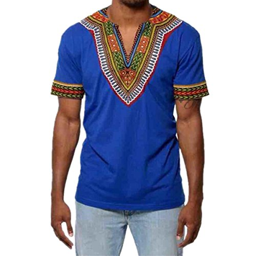 Bluestercool T-Shirt Hommes Slim Col en V Africain Imprimé Décontracté Manche Courte Tops T-Shirt Bleu
