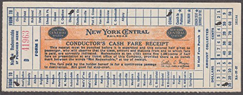 - New York Central Conductor's Cash Fare Receipt Form 5 railroad ticket Meyer