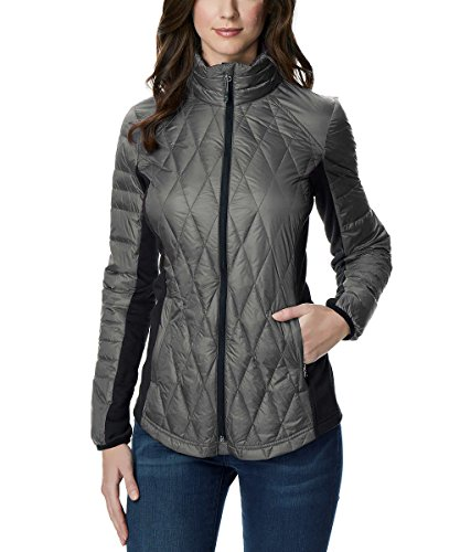 32 DEGREES Ladies' Mixed Media Down Jacket (Gray, Large)