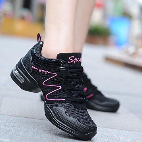 Sole Pink Shoe Sport Dance Beauty Black Sneakers Soft Womens Mesh D2C Jazz wxPCqUXxf
