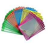 Dry Erase Pockets Rusable Dry Erase Sleeves Eraseble Pocket Sleeve Protect Clear Pocket with Hole Hanger and Colorful Edge(5colors)