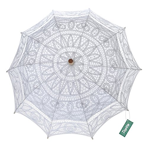 TopTie Lace Parasol Wedding Umbrella Bridal Shower Party Photo Prop Decoration WHITE-48PCS by TopTie