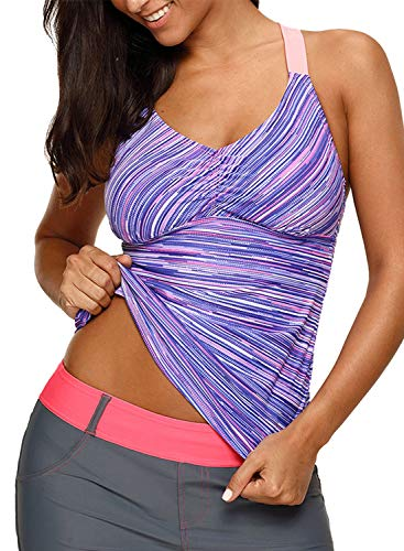 (Aleumdr Womens Beach Athletic Printed Strappy Racerback Summer Padded Tankini Swim Top No Bottom Medium Size Purple)