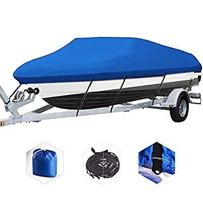 All Seasons Trailerable Blue Boat Cover Waterproof Heavy Duty 600D Oxford Fabric Outdoor Protector fits 17' 18' 19' V-Hull Tri-Hull Runabout Fishing Ski with Quick Release Buckle and Strap