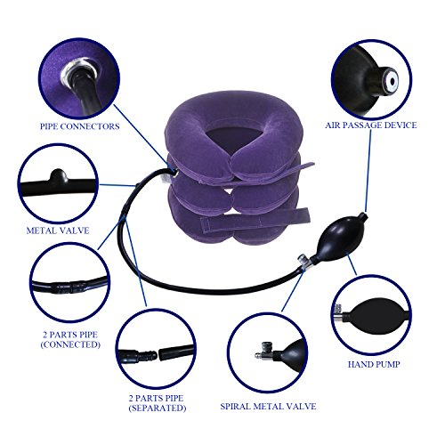 Banglijian Cervical Neck Traction Collar Device Inflatable Pillow Effective and Instant Relief for Chronic Neck and Shoulder Pain with Adjustable Size (Purple) by Banglijian (Image #4)