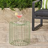 Great Deal Furniture Pony Outdoor 16 Inch Green Finish Metal Side Table