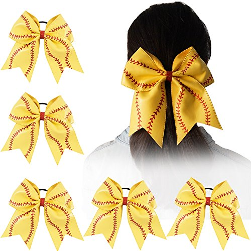 Ncmama Girls Big Yellow Leather Red Glitter Softball Cheer Bow for Dancing Cheerleader pack of (Over The Top Halloween Hair Bows)