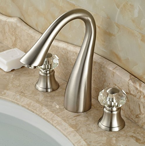 Rozin Double Crystal Knobs Bathroom Sink Faucet Widespread 3 Holes Tap Brushed Nickel