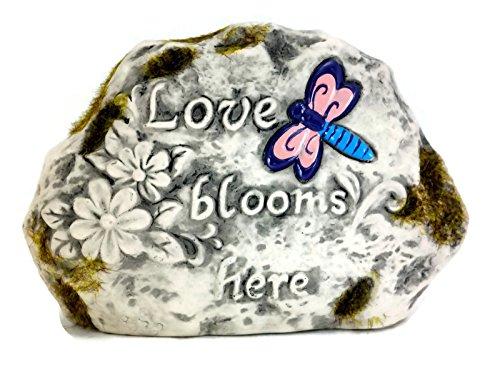 Dragonfly Garden Stone, Love Blooms Here Garden Decorative Rock