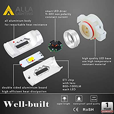 Alla Lighting 5202 LED Fog Lights Bulbs 3800lm Xtreme Super Bright 5201 DRL ETI 56-SMD PS19W 12085 PS19W, 6000K Xenon White: Automotive