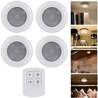 Gr8 Home Set Of 4 Wireless Wirefree Round Remote Control Led Timer Puck Lights Night Cabinet Closet Wardrobe by Sohler By Eurotrade W Ltd