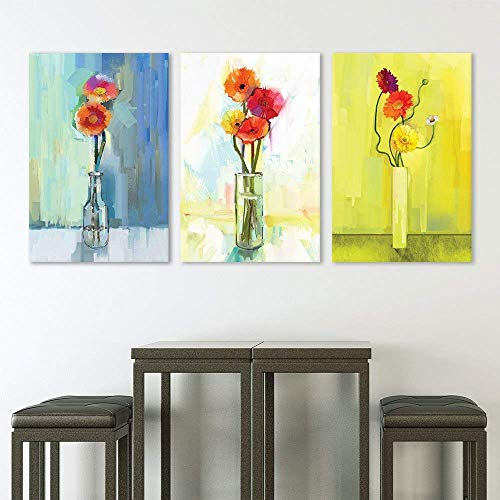 KAROLA Modern Artwork Wall Art Canvas Painting 3 Panel - Oil Painting Style Colorful Flowers in The Vase - Giclee Print Gallery Wrap Modern Home Decor Ready to Hang Framed Art - 16