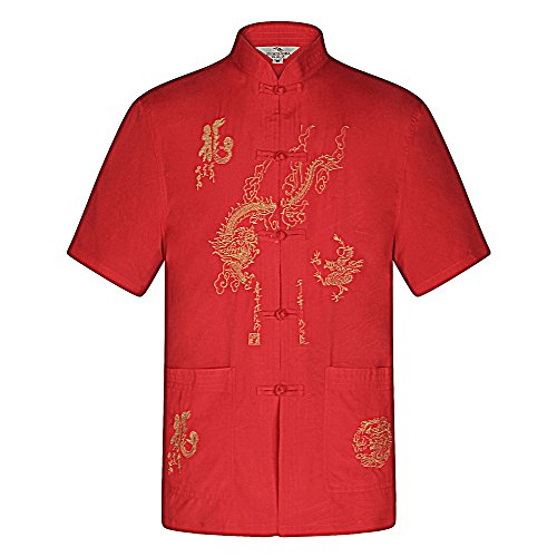 Chinese Mens Jacket Pants (KINDOYO Mens Short Sleeve Tang Suit & Pants Kung Fu Uniform Martial Arts Clothing (Red Shirt))